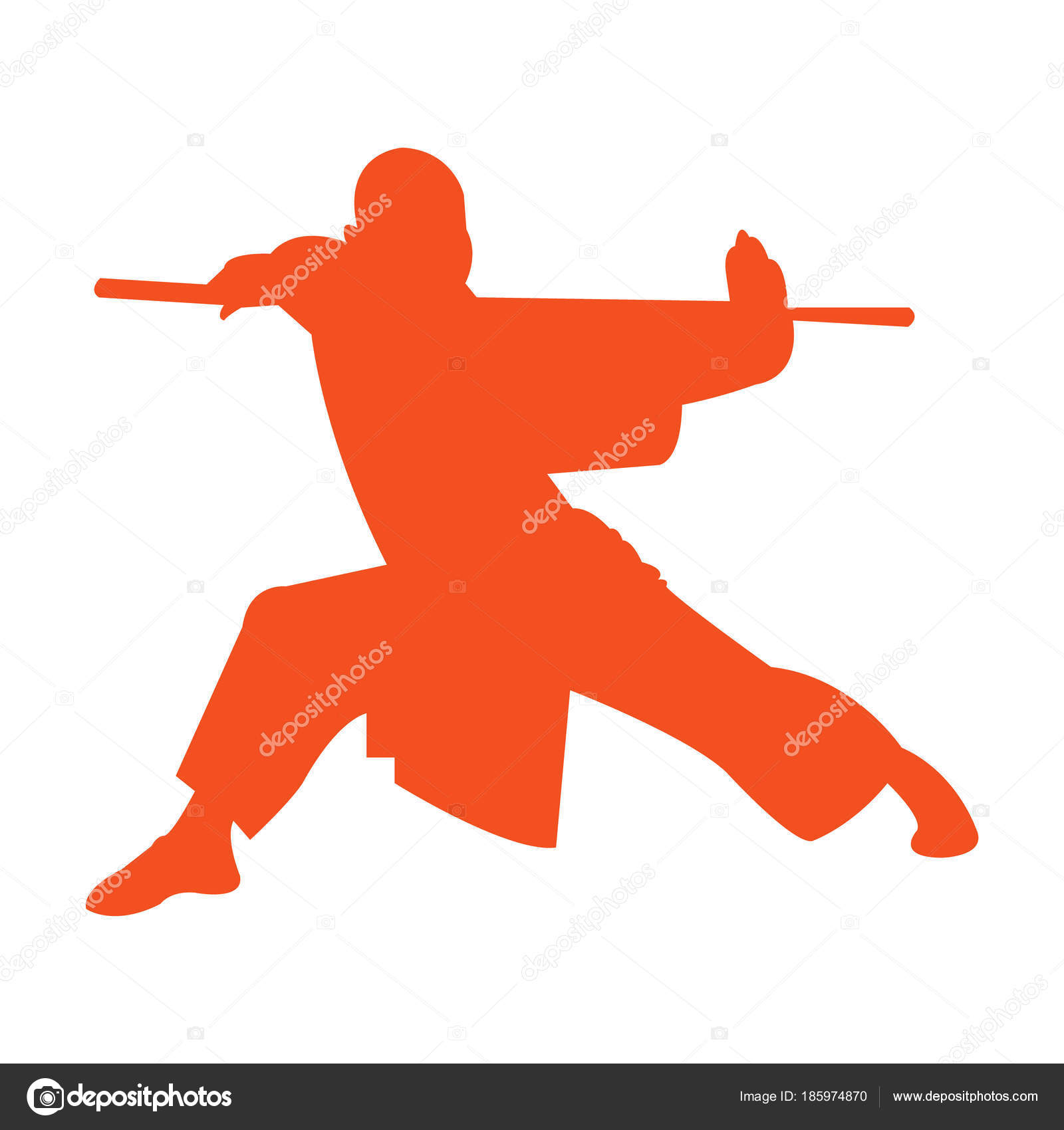 Shaolin monk silhouette   Shaolin Monk Kung Stand Silhouette