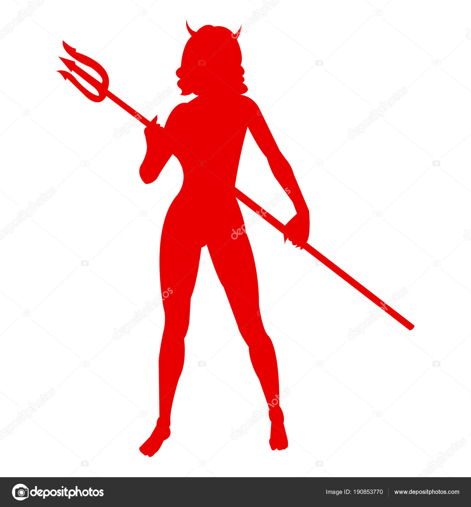 Red Silhouette Of A She Devil Vector By Doklevise