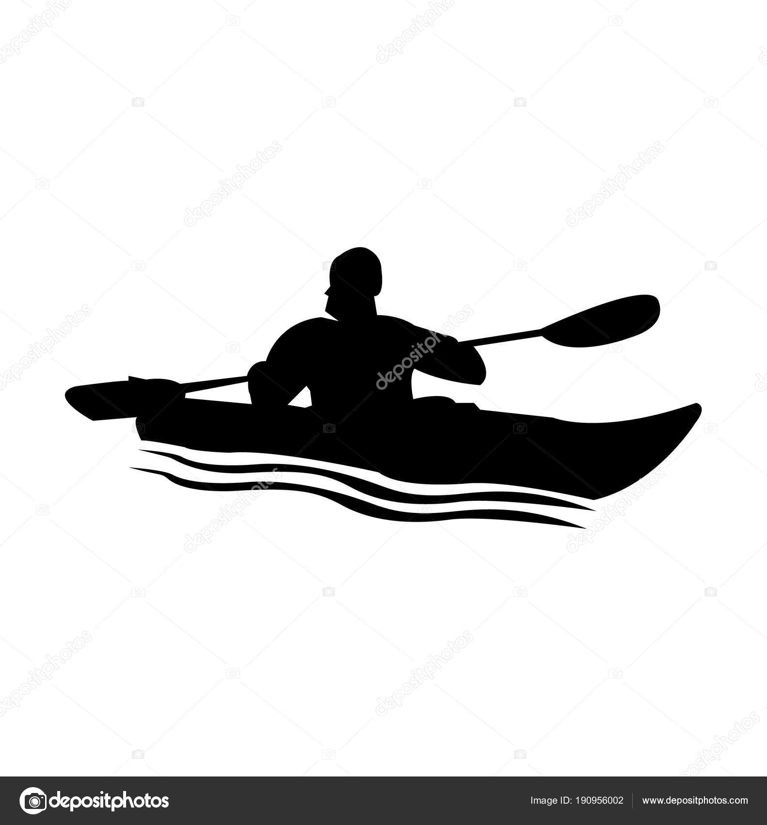 Person Kayak Silhouette Stock Vector