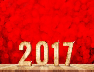 Happy New Year 2017 number in perspective room with red sparklin
