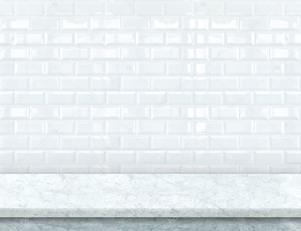 white marble table top. empty white marble table top with glossy ceramic tile wall \u2014 stock photo #125451488