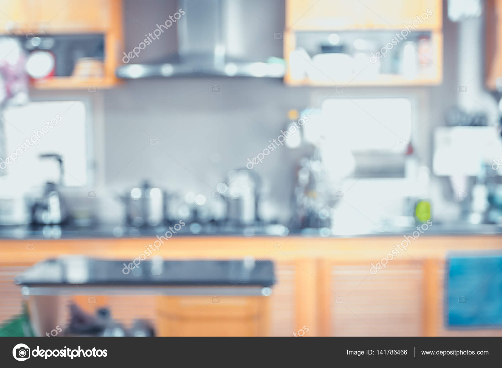 Blurred background,Modern kitchen with bokeh light, vintage filt ...