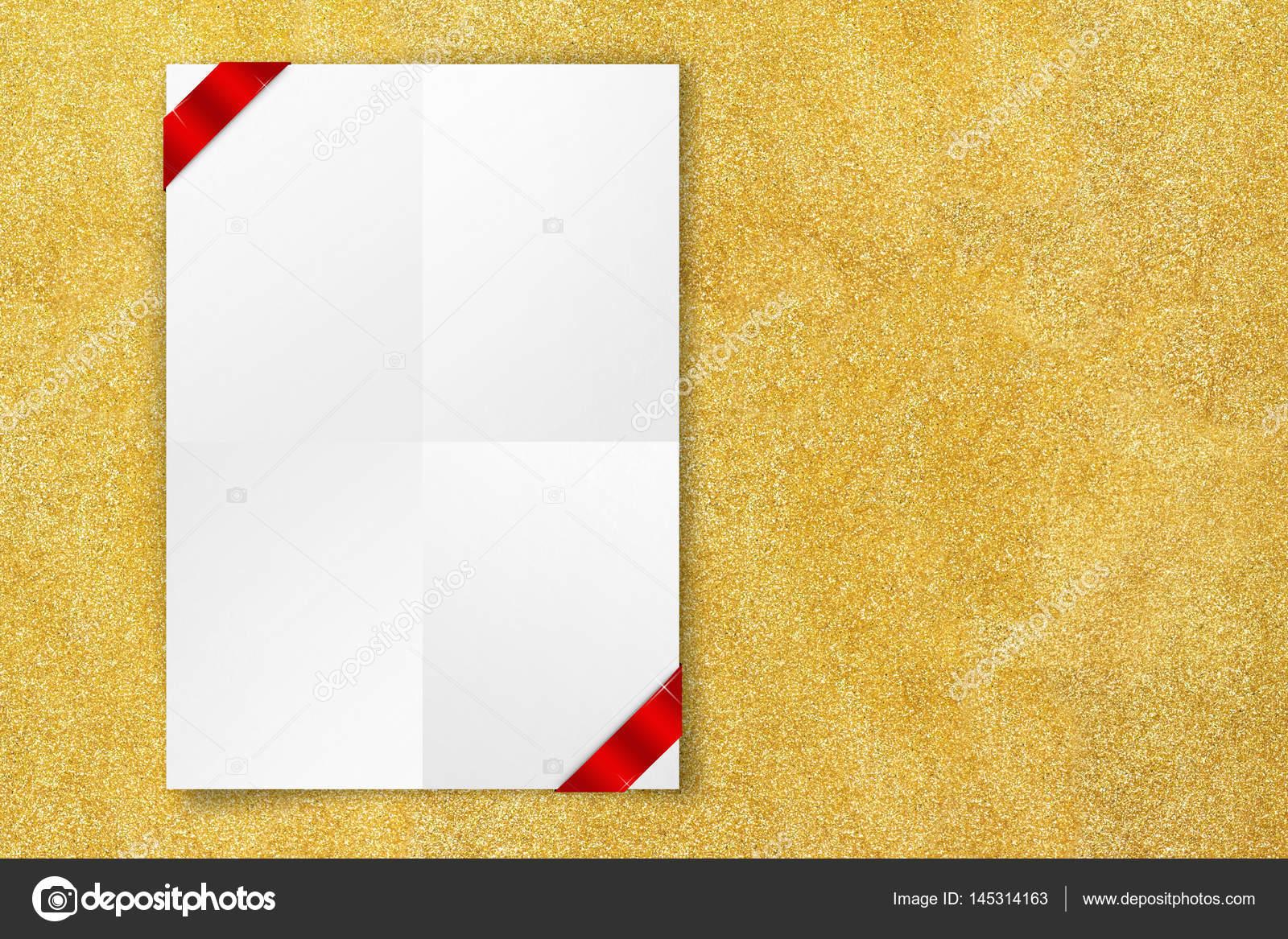 Pareti Glitter Oro : Manifesto vuoto bianco con il nastro rosso che appende sulla parete