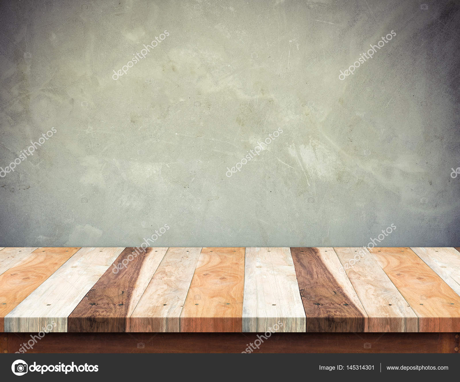 Empty Wood Plank Table Top With Grunge Concrete Wall Mock Up For