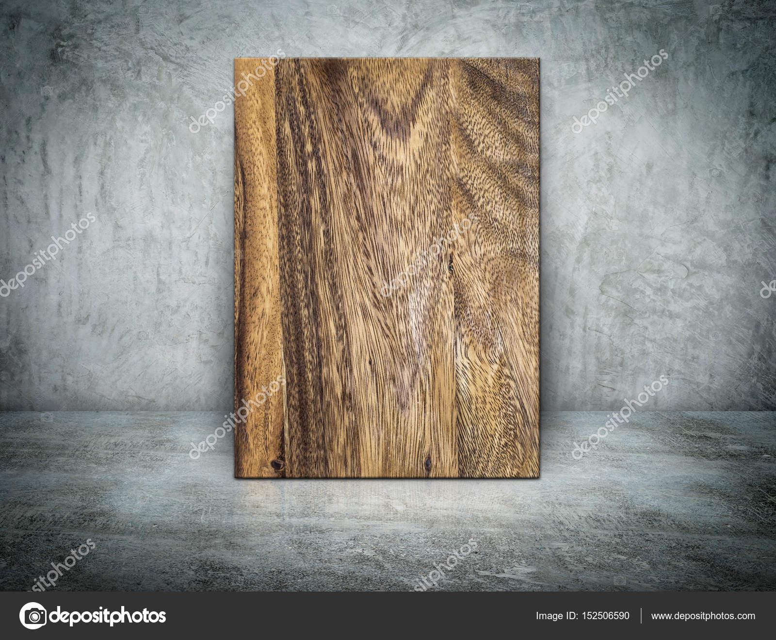 Leere Holz Blockzarge An Grunge Graue Betonwand Gelehnt Und