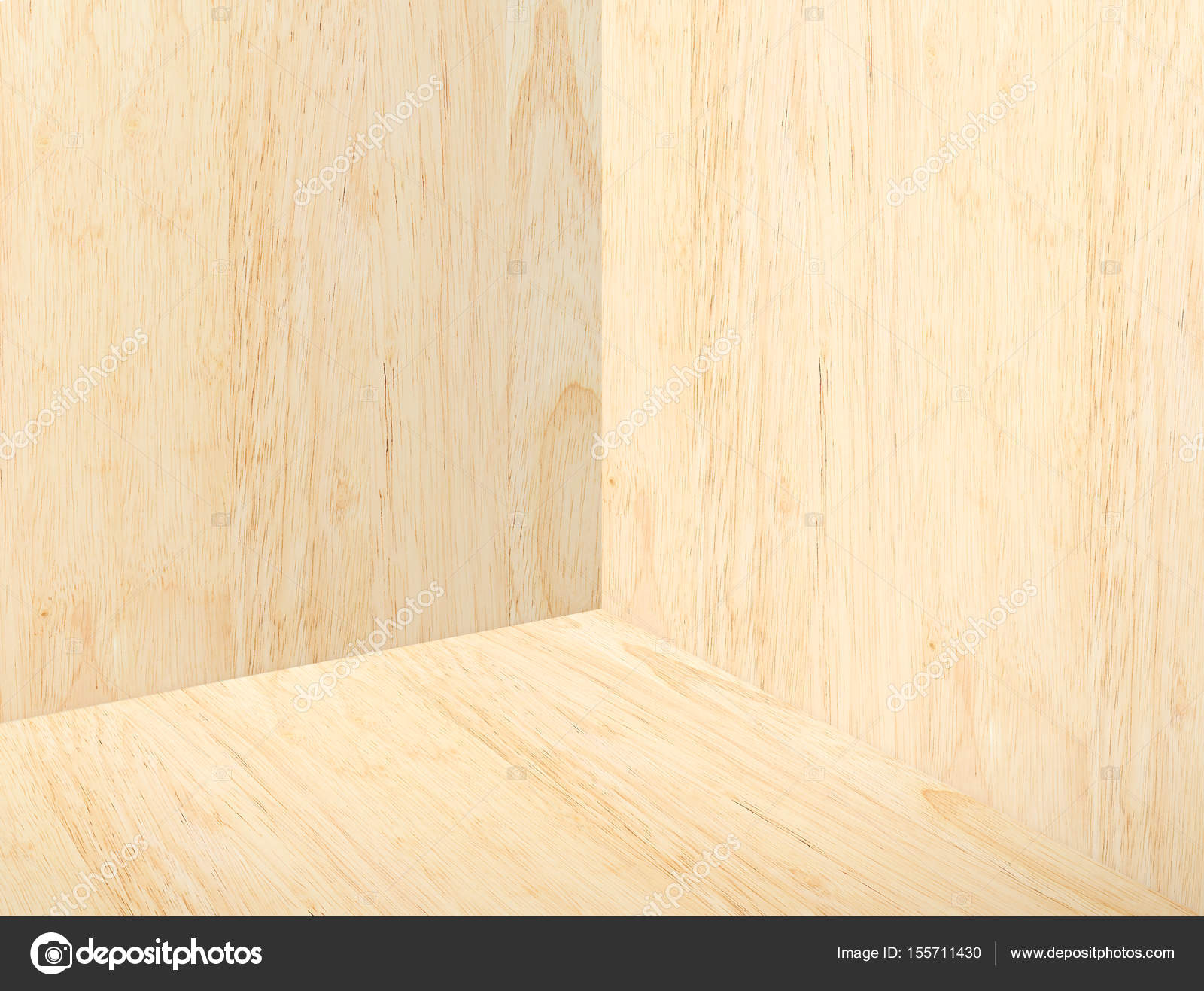 Empty Corner Beige Plain Wood Studio Room Background Mock Up Tem Stock Photo