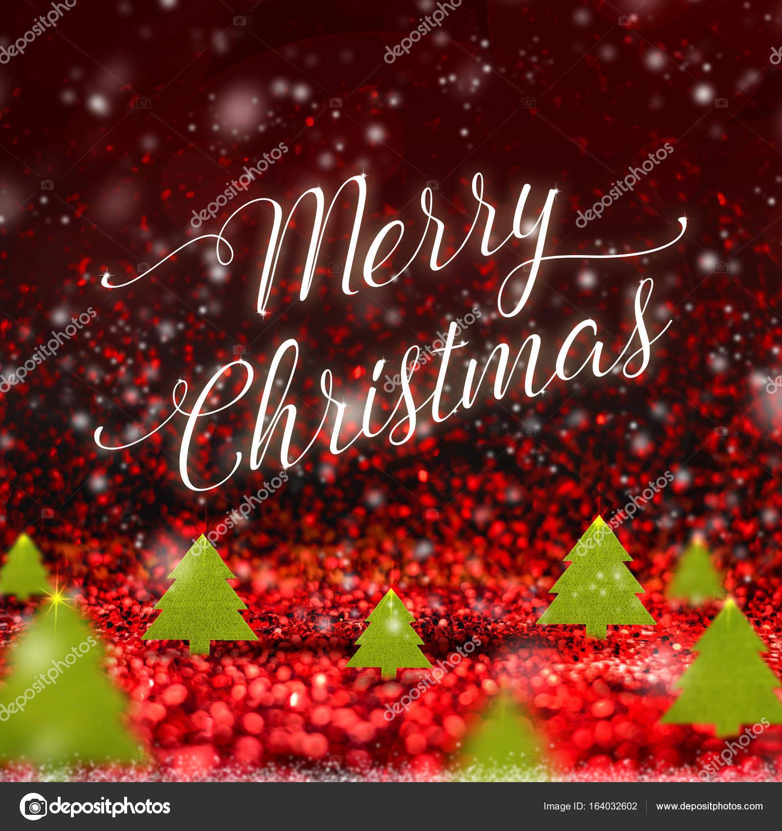Merry Christmas Word En Kerstboom Wanneer Sneeuw Vallen Bij Red