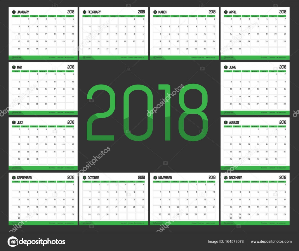 Vector of Calendar 2018 new year with green bar color and clean ...