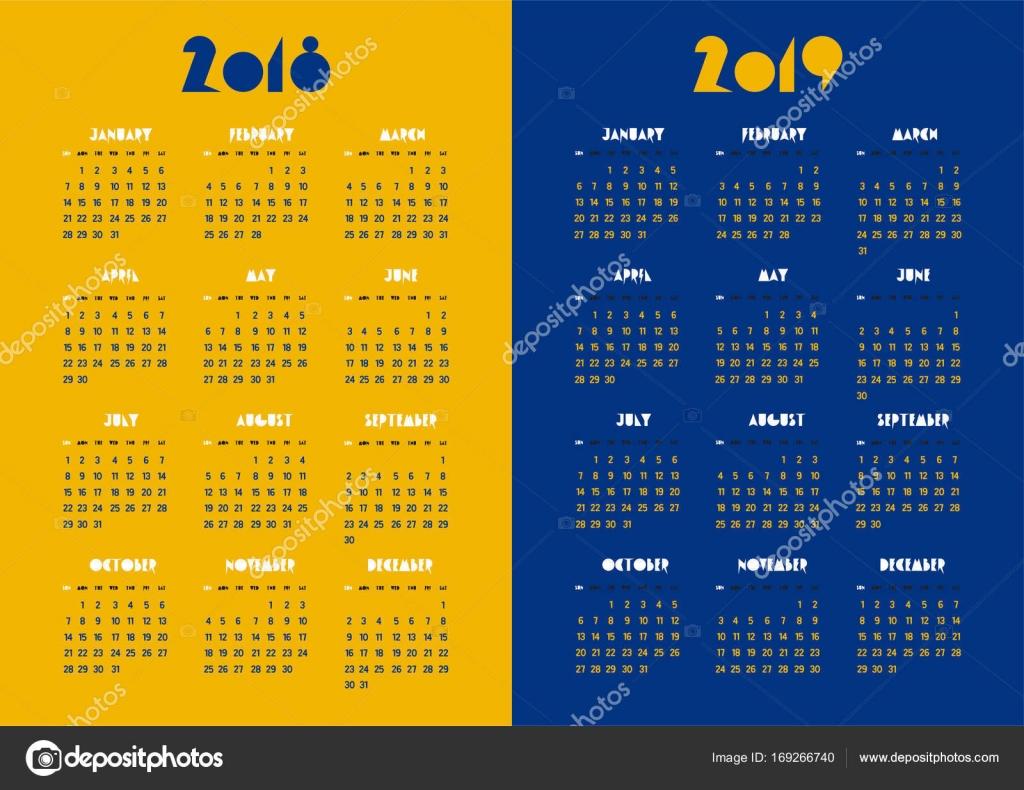 Calendario 2019 Moderno.Nuovo Anno 2018 E 2019 Vector Calendario Moderno Semplice