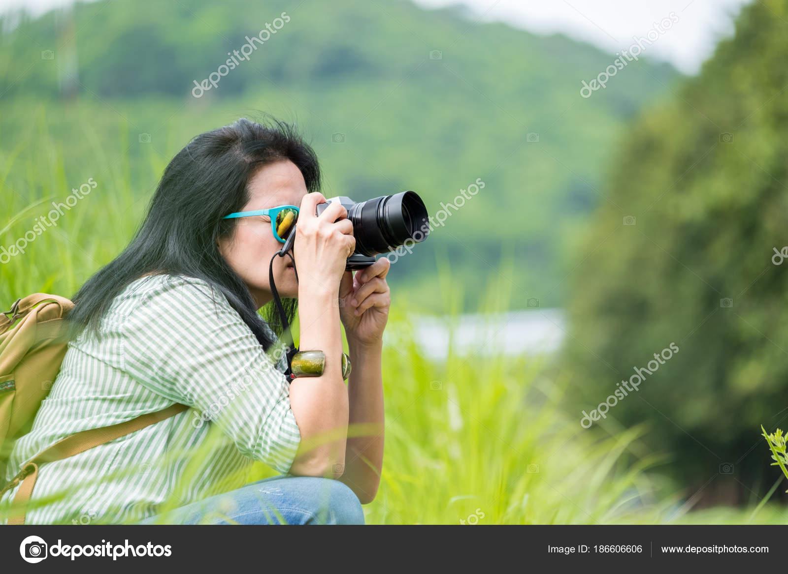 Woman Photographer Wear Sunglasses Holding Camera Take