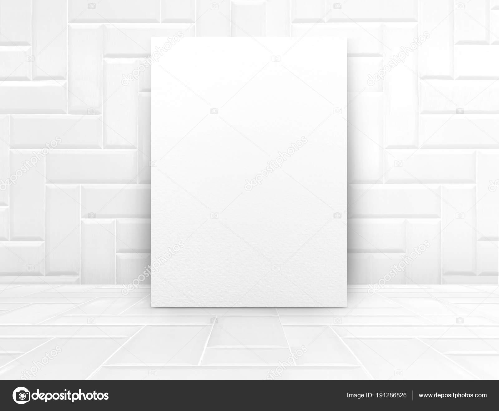Mock Up Branco Cartaz Na Sala De Cer Mica Azulejo Branco Lustroso