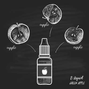 e-liquid bottle with apple flavor