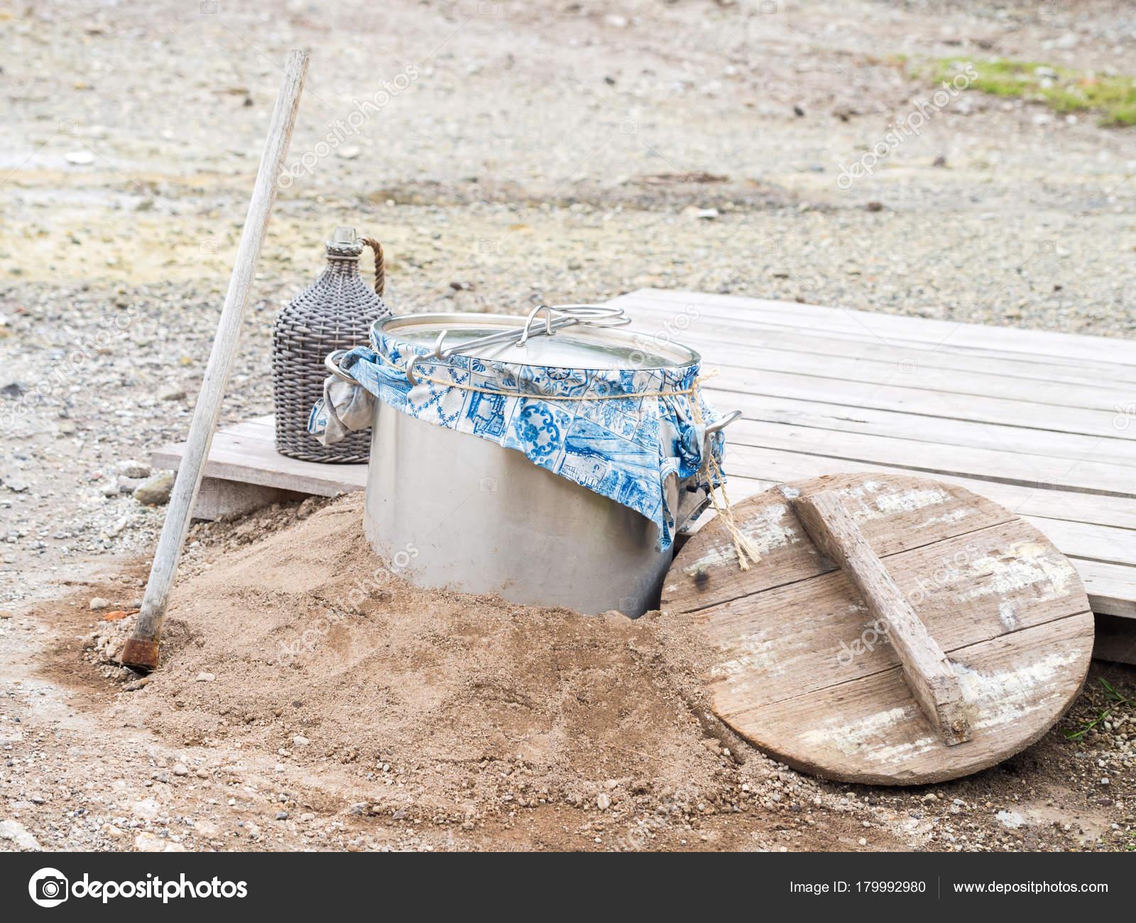 Geothermische koken fumarolas lagoa das furnas sao miguel island