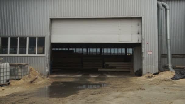 Roller Shutter Door And Concrete Floor Inside Factory Building For