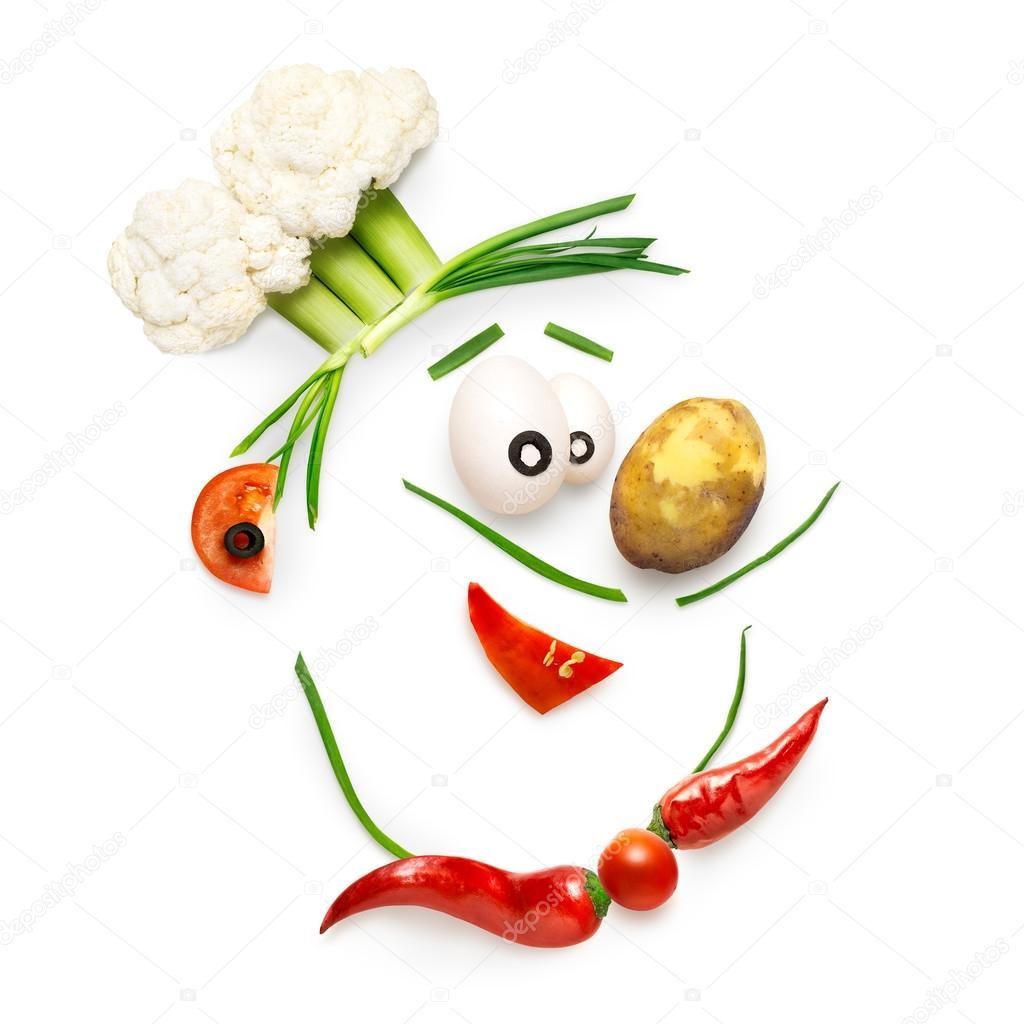 Chef vegetariana. Concepto de cocina creativa de una cara de chef de ...