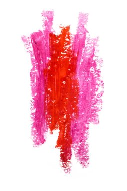 Lipstick strokes. Creative photo of an abstract red and pink lipstick strokes isolated on white.