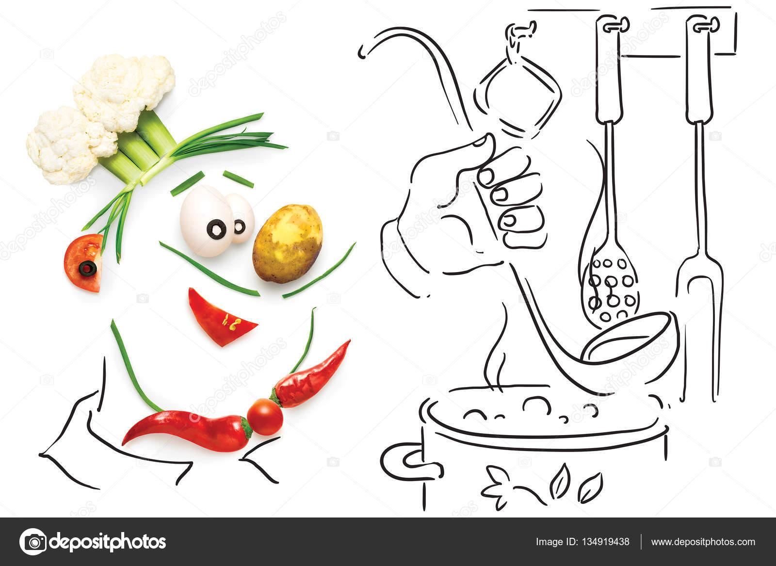 Chef vegetariana. Concepto de cocina creativa de un cocinero de ...