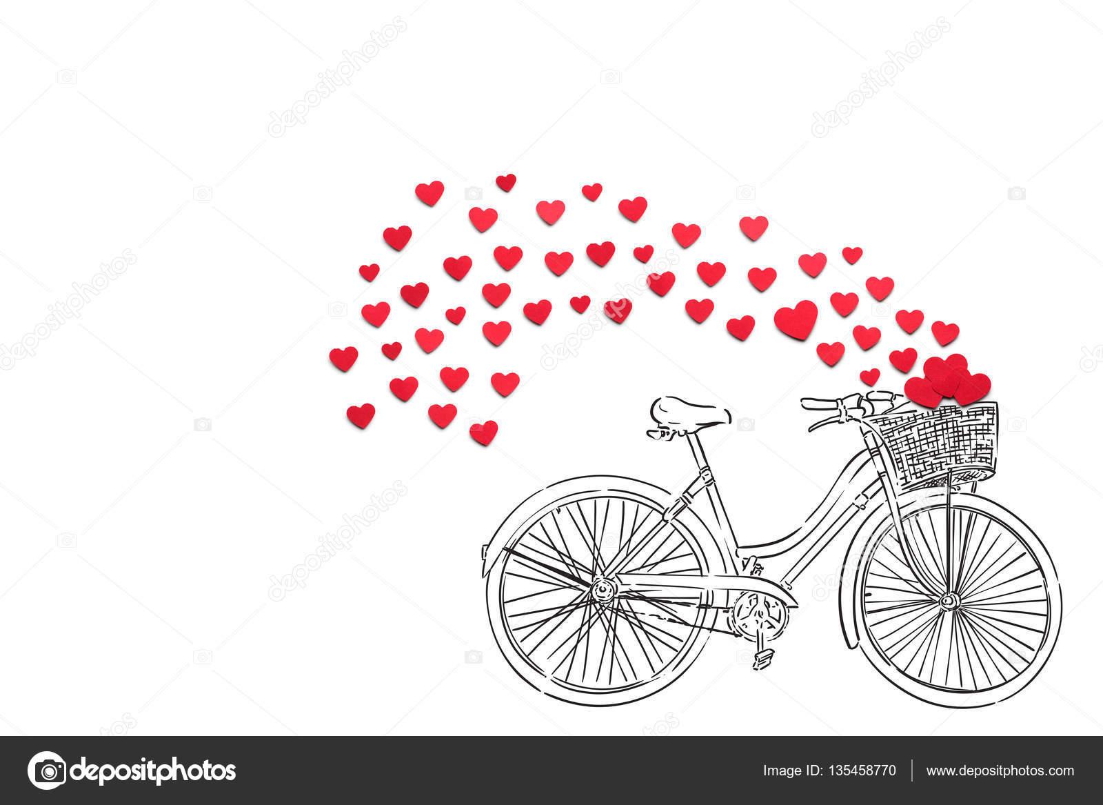 b179b6dd69401 Foto de concepto creativo San Valentín corazones y ilustrado bicicleta  sobre fondo blanco - imágenes  bicicleta amor — Foto de fisher.photostudio  — Foto de ...