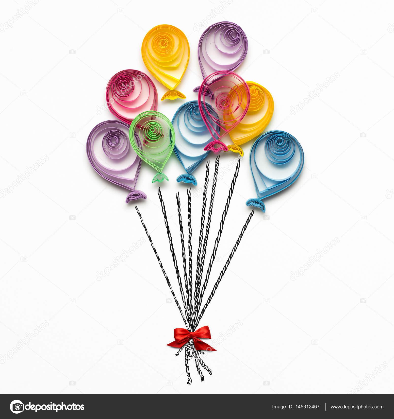 Joyeux Anniversaire Photo De Concept Créatif De Quilling Ballons En