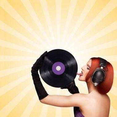 sexy gir with vinyl record