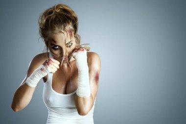 Aggressive female fighter