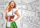 Oktoberfest-Frau in bayerischer Tracht