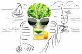 Gyümölcsök és zöldségek kreatív koncepció