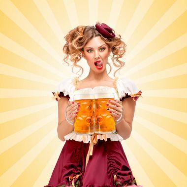 Beautiful sexy Oktoberfest waitress