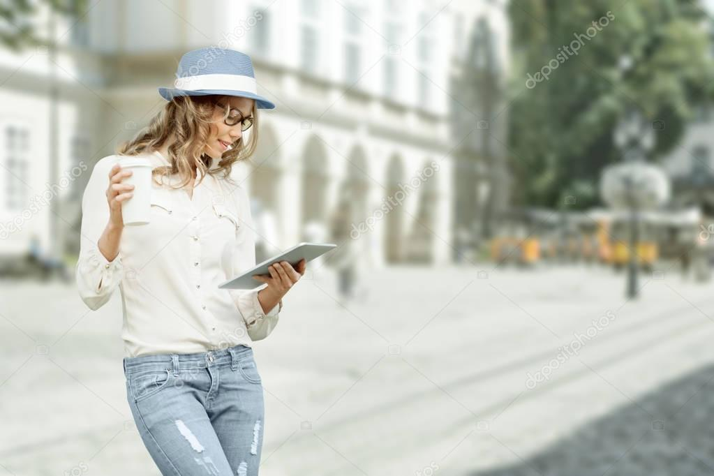 Happy young fashionable woman