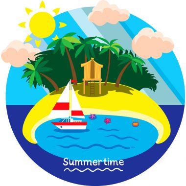Summertime vacation. Creative conceptual vector. Summertime vacation.