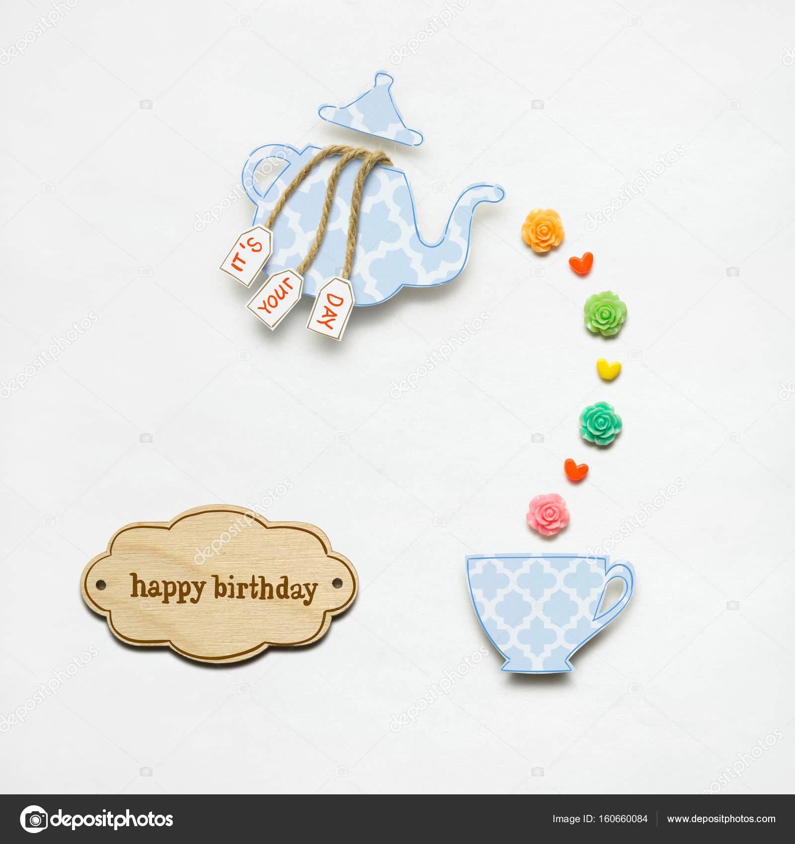 Gelukkige Verjaardag Creatief Concept Foto Van Een Theepot Gemaakt