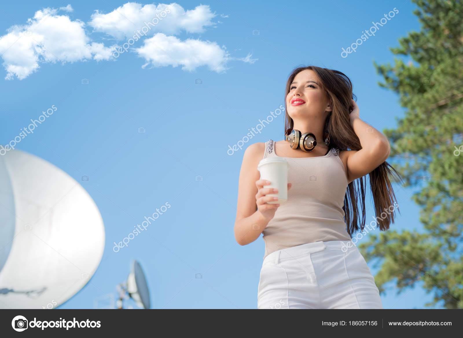 Happy Young Woman Wearing Vintage Music Headphones Her Neck