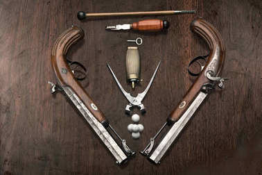 Duel pistols became a an indispensable attribute of high ranking persons like at the end of 18th century like a rapier before. Handmade in Germany at 1850.