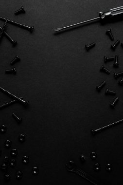 Creative concept photo of painted tools and nails on black background.