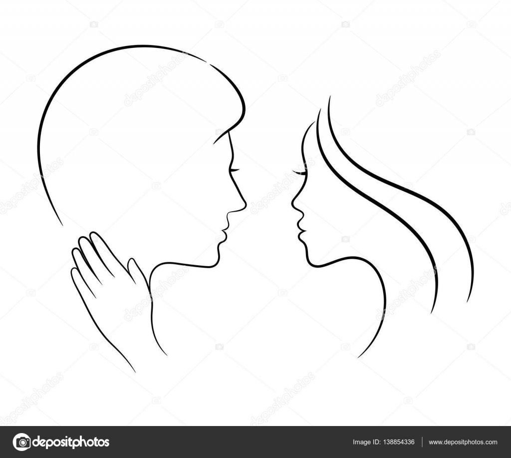 Couple In Love Contour Drawing Stock Vector C Cosmosquirrel