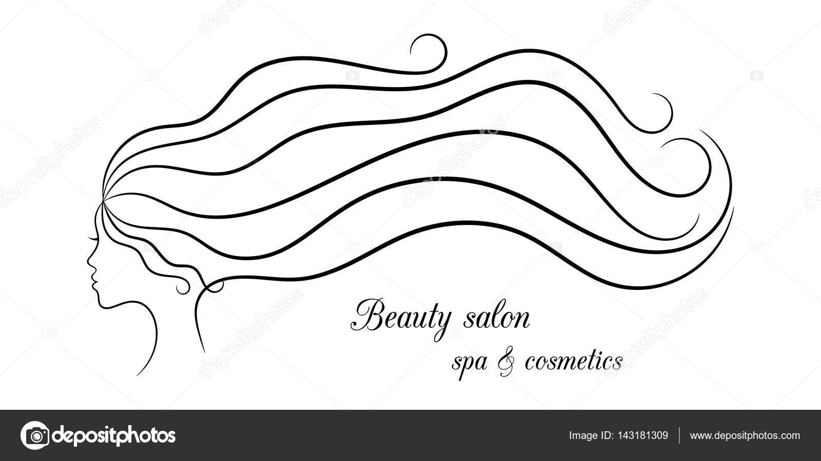 Contour Spa And Hair Pattern With Female Profile Stock Vector