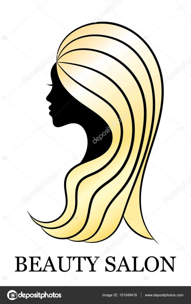 Schneiden Sie weibliche Profil mit goldenem Haar für Wellness- und ...