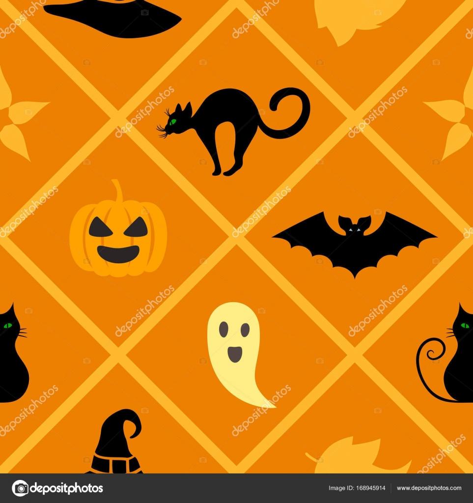 Seamless Warm Geometric Pattern With Halloween Symbols Cat Hat