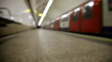 London Underground: tube train leaving station