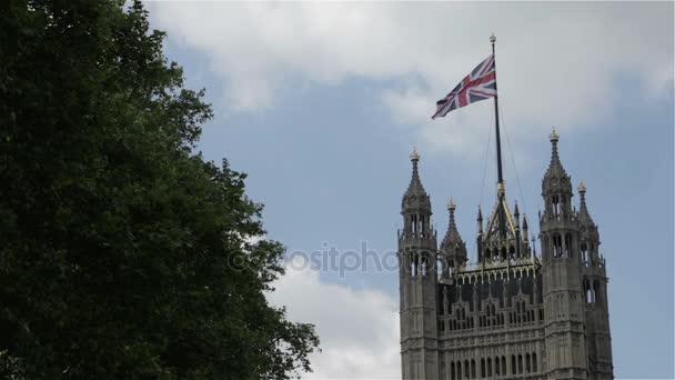 Union Jack auf der Victoria Tower, Houses of Parliament, London, Uk