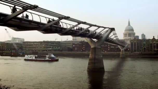 Time lapse of The Millennium Bridge over the River Thames, London.