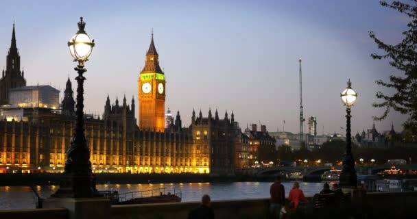 Westminster, London, at dusk with Big Ben and the River Thames