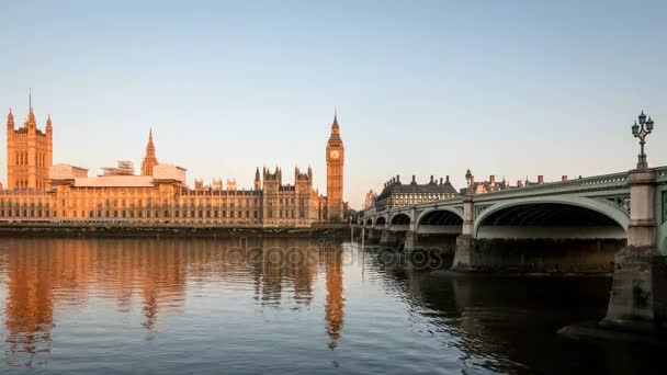 Palace of Westminster, Big Ben and Westminster Bridge London at dawn, time lapse