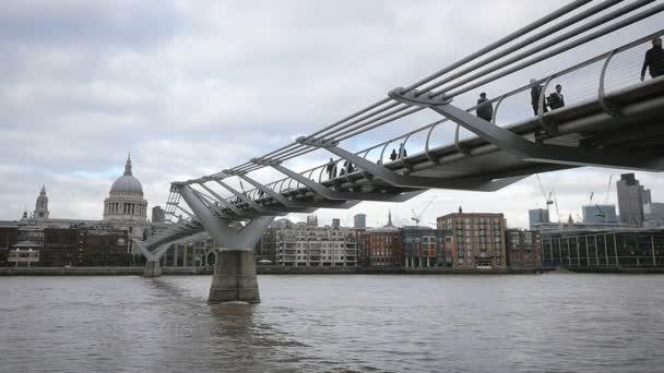 Millennium Bridge, St. Pauls Cathedral, River Thames, London - slow motion