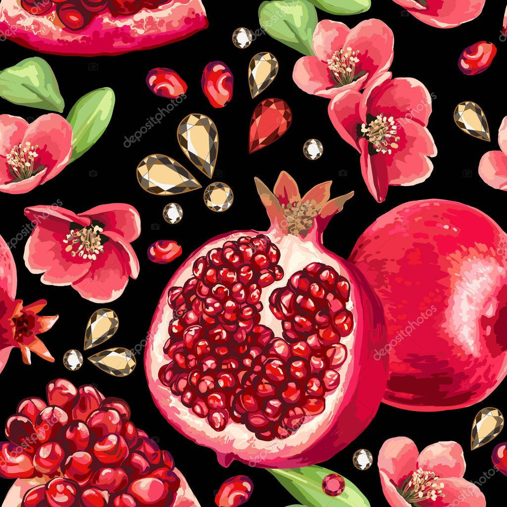 Pomegranate fruit and flowers on a black background