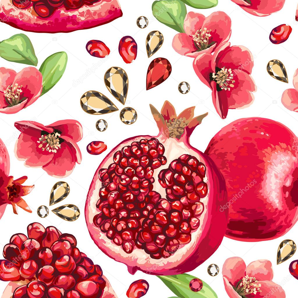 Pomegranate fruit and glass strass.