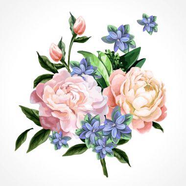 """Картина, постер, плакат, фотообои """"изолированные цветы пионов ."""", артикул 147602439"""