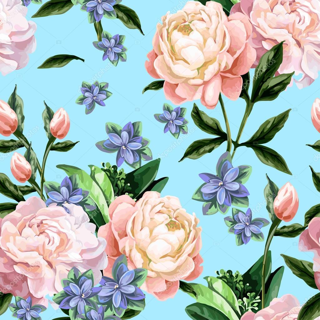 Seamless pattern with peonies.