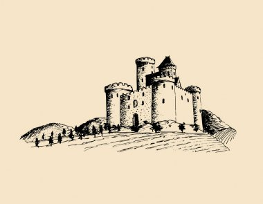 hand-drawn ancient castle