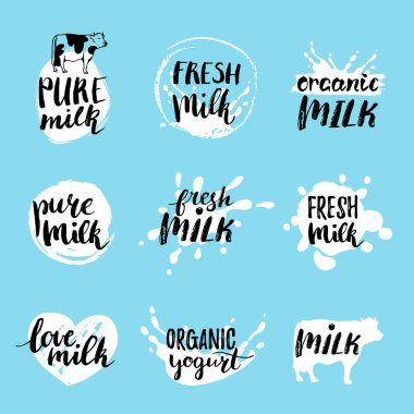 milk logos or labels set
